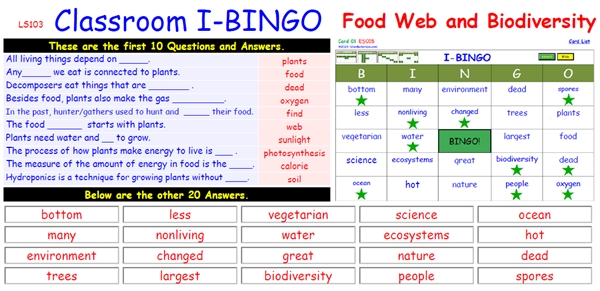 interactive i bingo   quot food web and biodiversity quot  ls  interactive i bingo   quot food web and biodiversity quot  ls  each of the  cards will have a randomized answer pattern for supplied questions